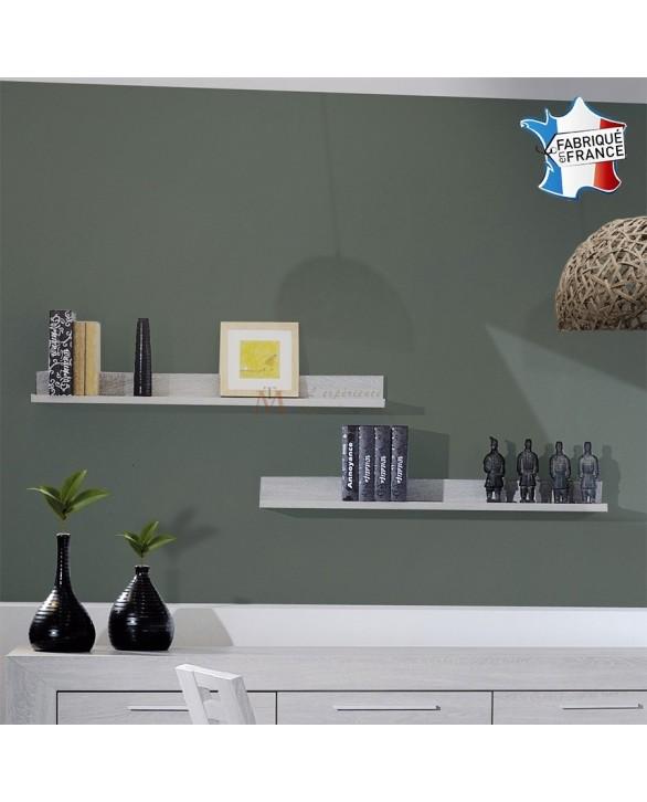deco pas cher lot de 2 tag res murales ch ne blanchi. Black Bedroom Furniture Sets. Home Design Ideas