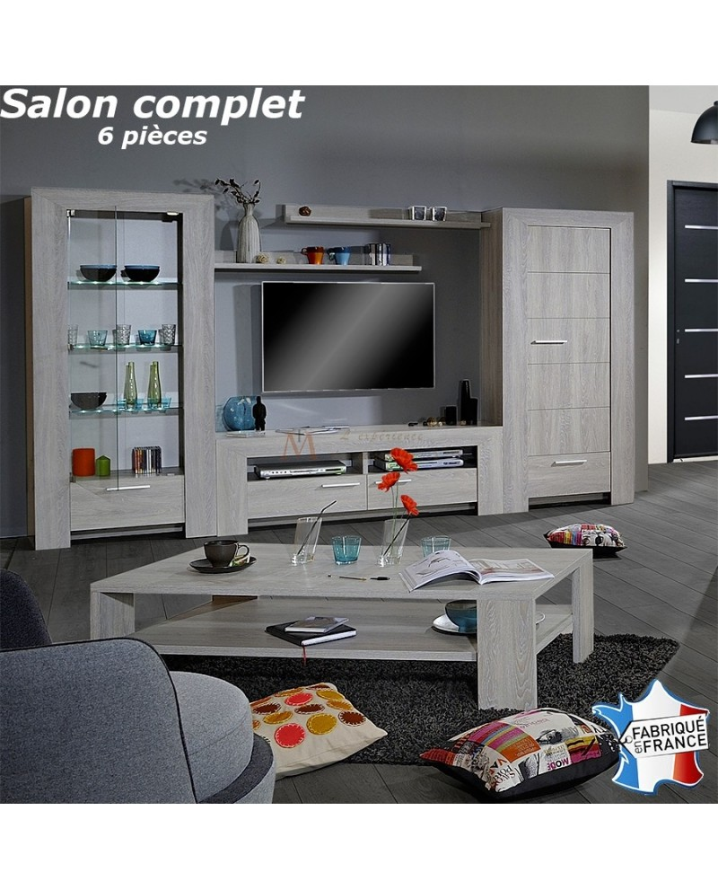 Top tendance ensemble tv moderne 6 pi ces ch ne blanchi for Meuble de salon complet