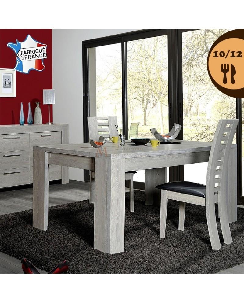 table repas 10 12 couverts ch ne blanchi 2 allonges 40 cm. Black Bedroom Furniture Sets. Home Design Ideas