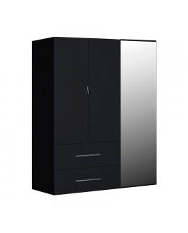 armoire laque noire 2 tiroirs 3 portes dont une avec miroir. Black Bedroom Furniture Sets. Home Design Ideas