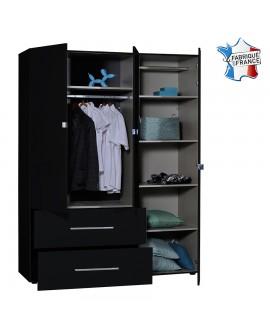 Aménagement intérieur de l'armoire FLORA 3 portes dont 1 avec miroir 2 tiroirs