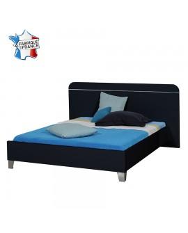 Lit adulte 140 à 180 cm tête de lit et cadre de lit laque noir brillant.