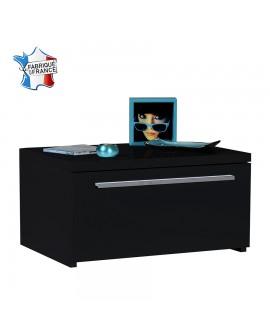 Chevet moderne 1 tiroir FLORA décor laque noir brillant
