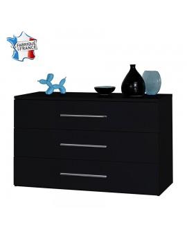 Commode moderne 3 tiroirs FLORA décor laque noir brillant