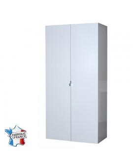 Armoire 2 portes moderne FIONA décor laque blanc brillant.