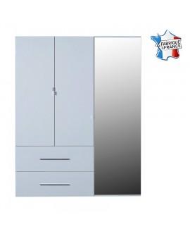Armoire moderne 3 portes dont 1 avec miroir 2 tiroirs FIONA décor laque blanc brillant