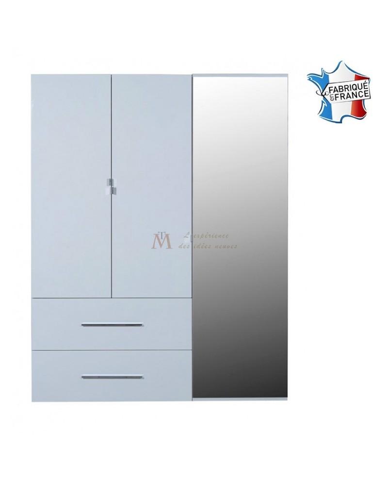 Armoire Laque Blanche 2 Tiroirs 3 Portes Dont Une Avec Miroir # Armoire Blanc Laquee