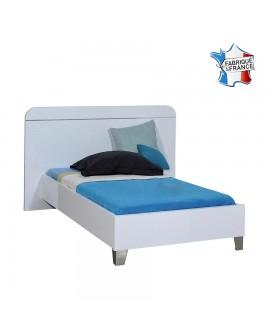 Lit enfant FIONA 90 x 190 cm tête de lit et cadre de lit laque blanc brillant.