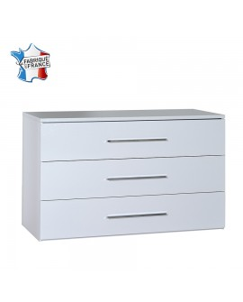 Commode moderne 3 tiroirs FIONA décor laque blanche brillante