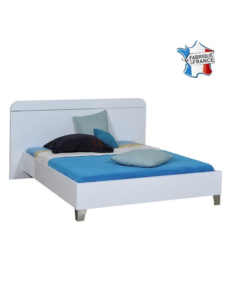 Lit adulte 140 à 180 cm tête de lit et cadre de lit laque blanc brillant