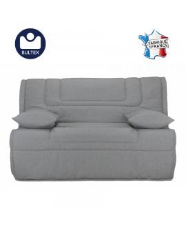 Banquette-lit BZ tissu gris large couchage 140 x 190 cm B612