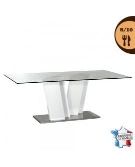 Table de salle à manger CLAUDIA plateau verre pied design