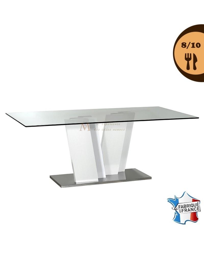 Table De Salle A Manger Plateau Verre Pied Design Laque Blanc