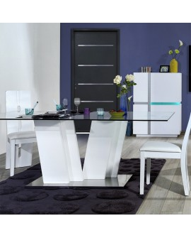 table de salle manger plateau verre pied design laque blanc. Black Bedroom Furniture Sets. Home Design Ideas