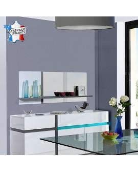 Grand miroir moderne CLAUDIA tablette bois ou inox au choix
