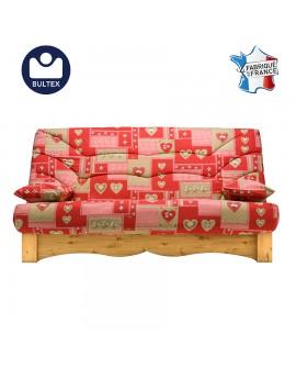 Banquette-lit style savoyard couchage 130 x 190 cm tissu B933