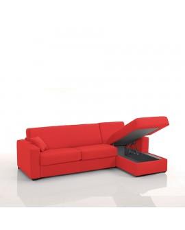 Canapé rapido avec méridienne tissu SI09 couchage 140 cm