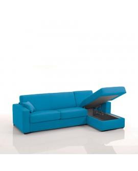 Canapé rapido avec méridienne tissu SI15 couchage 140 cm