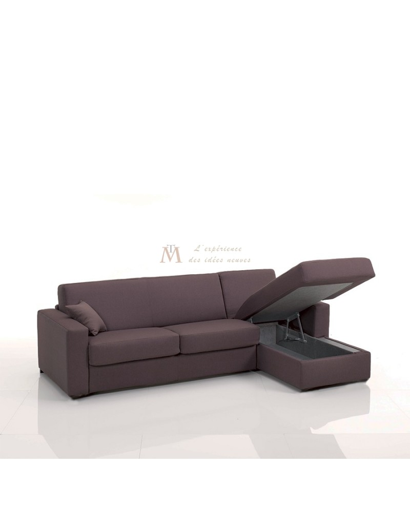 Canap lit rapido grand couchage 160 cm m ridienne coffre for Couch 160 cm