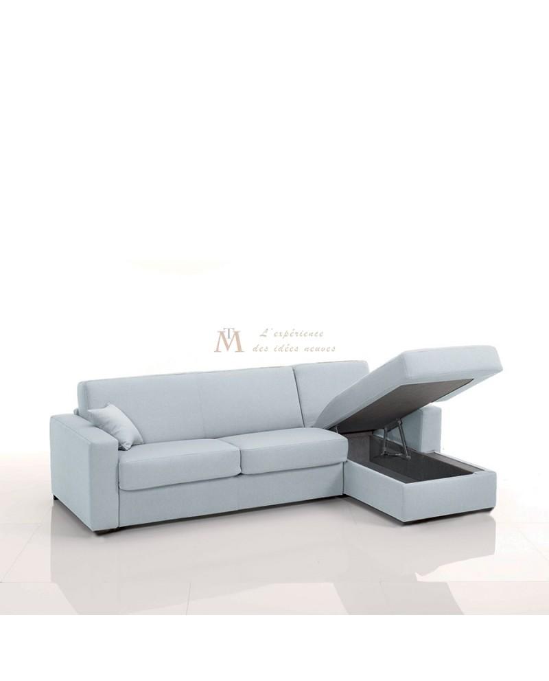 Canapé rapido avec méridienne tissu SI22 grand couchage 160 cm