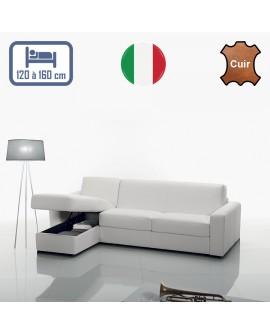 Canapé d'angle convertible disponible en 3 tailles de couchage et 8 coloris de cuir