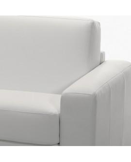 Détail du revêtement cuir de la manchette et de l'assise du canapé d'angle rapido OPERA