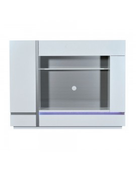 meuble tv living 2 portes 2 niches battants clairage led. Black Bedroom Furniture Sets. Home Design Ideas