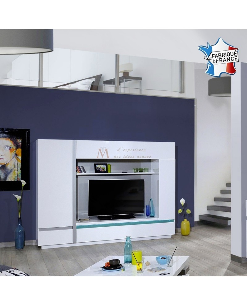 Meuble Tv Living 2 Portes 2 Niches Battants Clairage Led # Grand Meuble Tv Blanc Laque