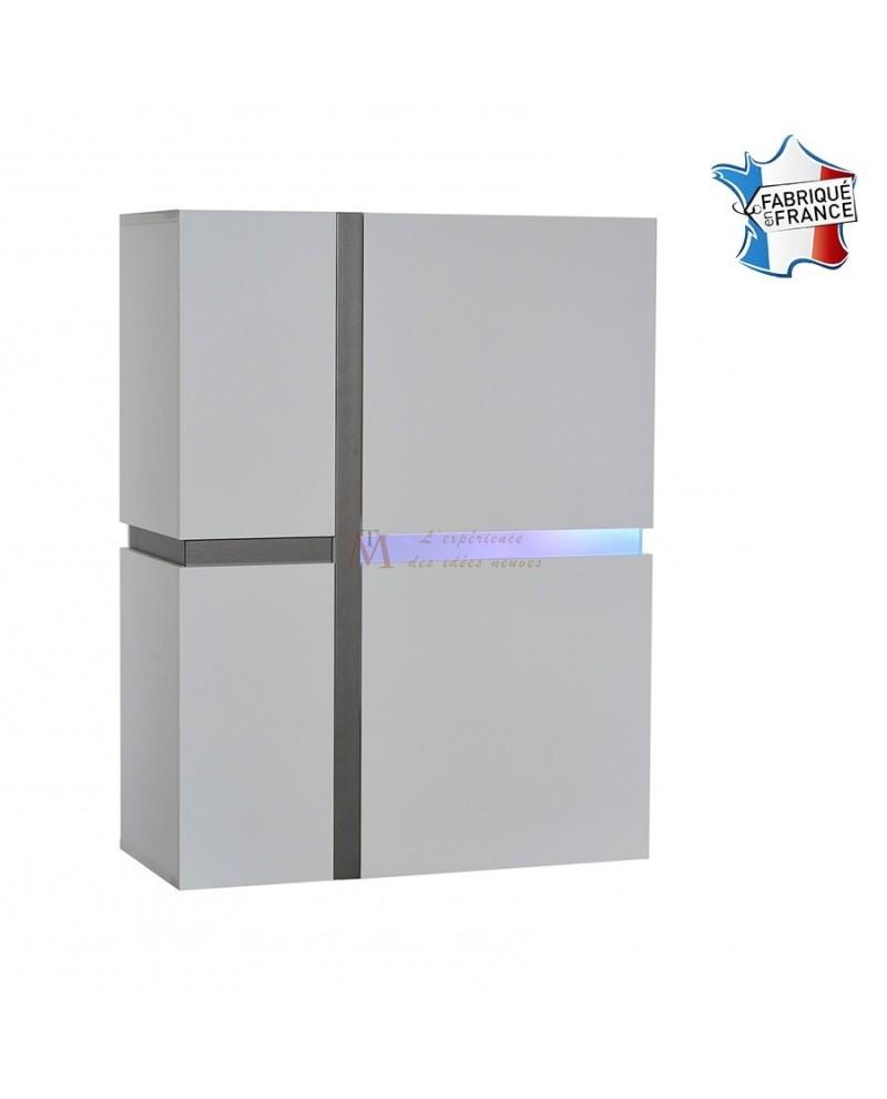 Argentier 2 portes design laque blanc brillant éclairage Led