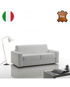 Canapé fixe 2 ou 3 places à revêtement cuir SYMPHONY de fabrication italienne