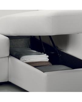 Canap angle moderne avec m ridienne coffre cuirs 8 couleurs - Meridienne coffre rangement ...