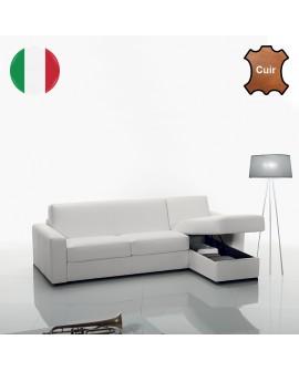 Canapé d'angle SYMPHONY disponible en 3 tailles de couchage et 8 coloris de cuir