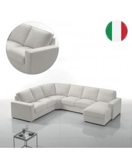 Magnifique canapé grand angle 5 à 6 places YOUNA revêtement tissu