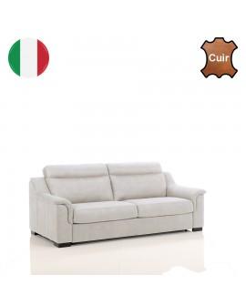 Canapé fixe 2 ou 3 places à revêtement cuir TREVISE de fabrication italienne
