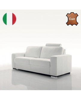 Canap moderne 2 ou 3 places cuir italien 8 couleurs t ti re for Canape 2 couleurs