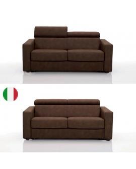 Canapé fixe 2 ou 3 places GOA 12 coloris 2 têtières relevables tissu SI11