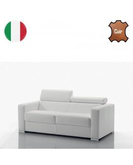 Canapé fixe 2 ou 3 places GOA cuir 8 coloris 2 têtières réglables
