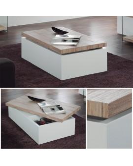 Table basse HAFIA laque blanc plateau bois rotatif sur rangement