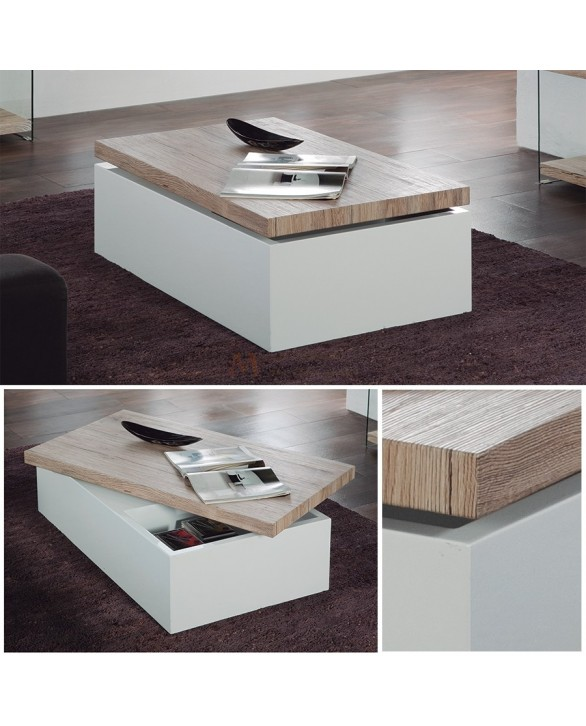table basse rangement gain de place laque blanc plateau bois. Black Bedroom Furniture Sets. Home Design Ideas