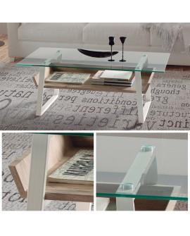 Table de salon design avec plateau en verre trempé et tablette basse chêne gris