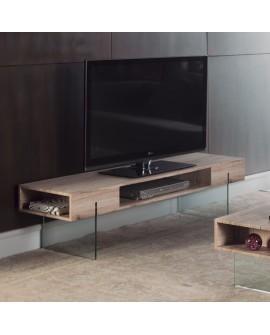 Meuble TV contemporain décor chêne et verre trempé CARINA 3 niches