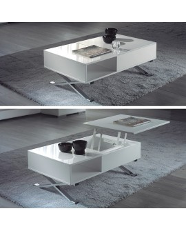 Table basse contemporaine MERIBEL avec tablette relevable blanc avec pied chrome