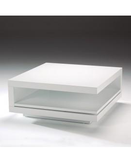Table de salon carrée BETY laquée blanc avec la tablette en position fermée