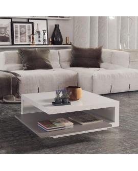 Table de salon carrée BETY laquée blanc et gris avec la tablette en position ouverte