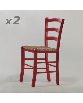 Chaise classique PALMA hêtre massif laqué rouge assise paille