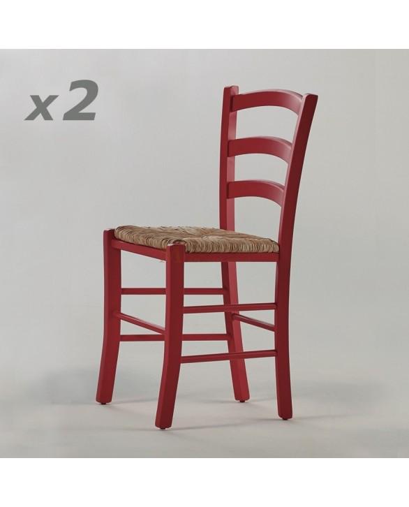 Lot de 2 chaises h tre massif laqu 4 couleurs assise paille - Chaise hetre assise paille ...