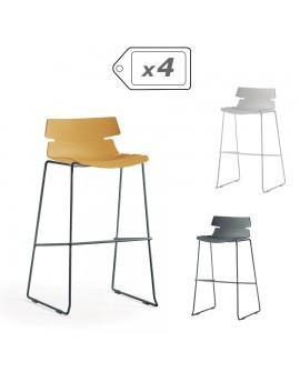 Tabouret design assise résine pied et repose pieds métal laqué gris DREAM