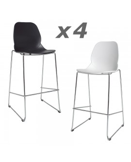 lot de 4 tabourets assise r sine blanc noir pied m tal chrom. Black Bedroom Furniture Sets. Home Design Ideas
