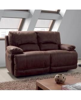 Canapé relaxation 2 places en tissu impression nubuck couleur chocolat OLIVIA