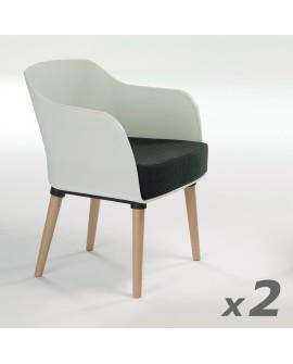 Fauteuil moderne de style scandinave MARIA dossier résine blanche coussin tissu